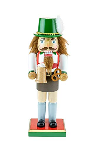 Clever Creations Classic Chubby German Nutcracker Wearing Lederhosen & Holding a Mug – Festive Collectible Decor – Perfect for Shelves and Tables – 100% Wood – 10 inches Tall