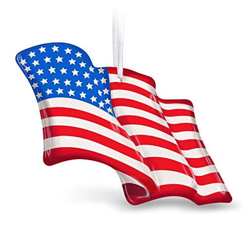Hallmark Keepsake Christmas 2019 Wave Proudly American Flag Glass Ornament