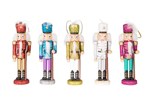 Clever Creations Wooden Glitter Nutcracker Ornament Set Christmas Nutcrackers in Red, Blue, White, Yellow and Pink | Perfect for Any Christmas Tree | String Hangers Included | 5 Pack | 6″ Tall