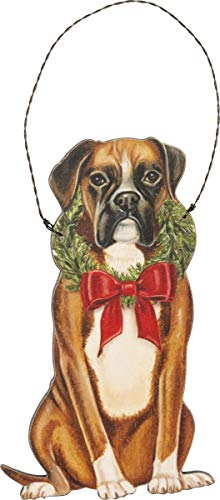 Primitive by Kathy Christmas Boxer Hanging Ornament