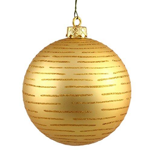 Vickerman 24693 – 4.75″ Gold Glitter Ball Christmas Tree Ornament (2 pack) (N111208)