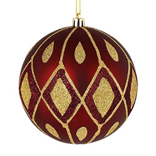 Vickerman 528648-4″ Wine Matte Glitter Diamond Ball Christmas Tree Ornament (4 pack) (N188019D)