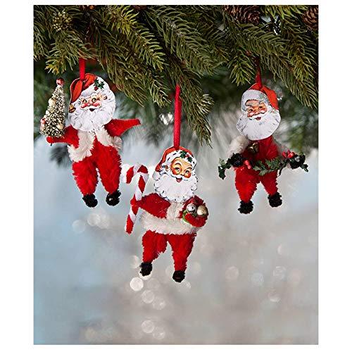 Largemouth Set/3 Bethany Lowe Chenille Santa Claus Tree Ornaments