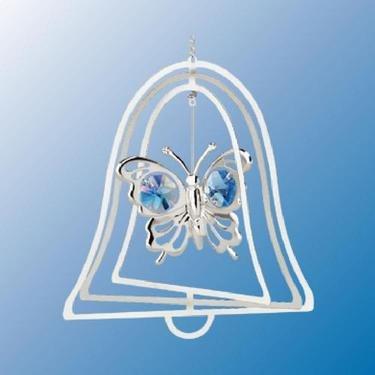 Chrome Plated Butterfly Bell Ornament – Blue – Swarovski Crystal