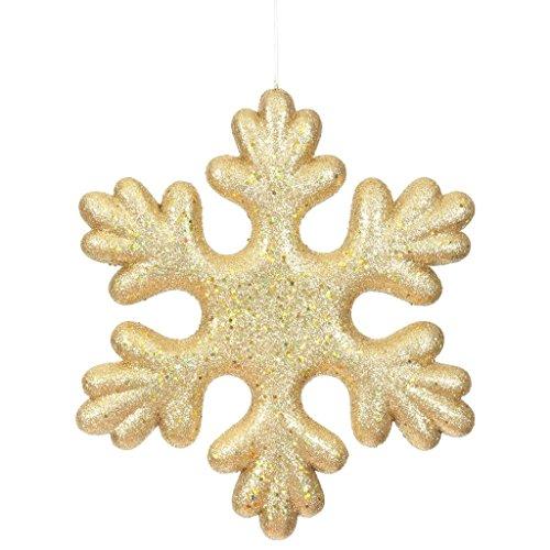 Vickerman 510292 – 15″ Gold Glitter Snowflake Outdoor Christmas Tree Ornament (L171508)