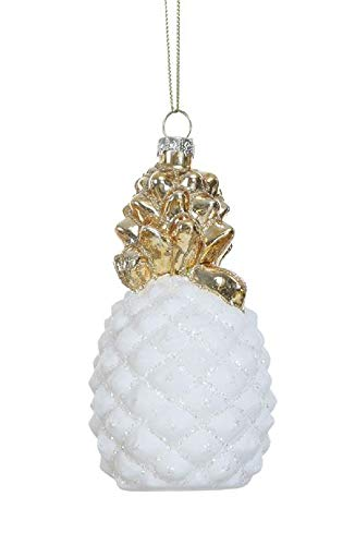 Creative Co-op Tropical Pineapple Gold-Metallic Hanging Ornament