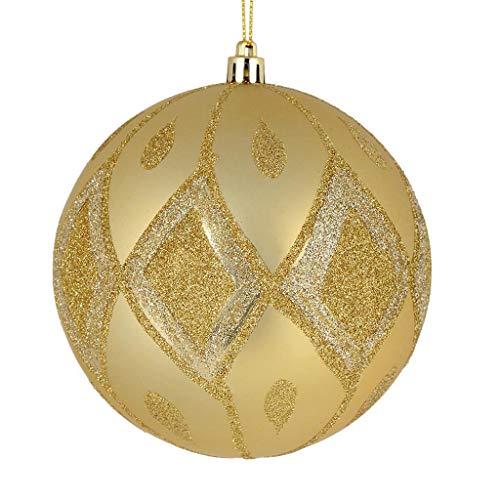 Vickerman 528754-4″ Champagne Matte Glitter Diamond Ball Christmas Tree Ornament (4 pack) (N188038D)