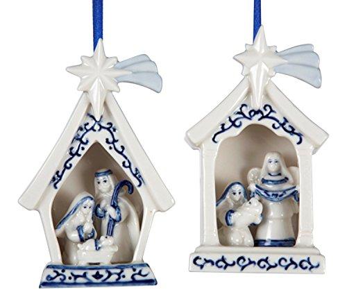Kurt Adler 4″ Porcelain Delft Blue Holy Family Ornament 2/asstd.