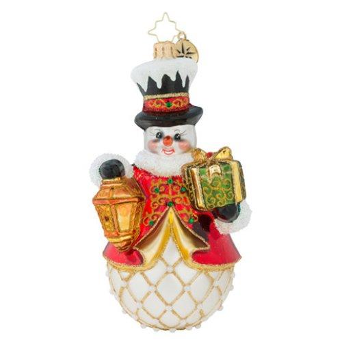 Christopher Radko Light My Way Snowman Glass Christmas Ornament