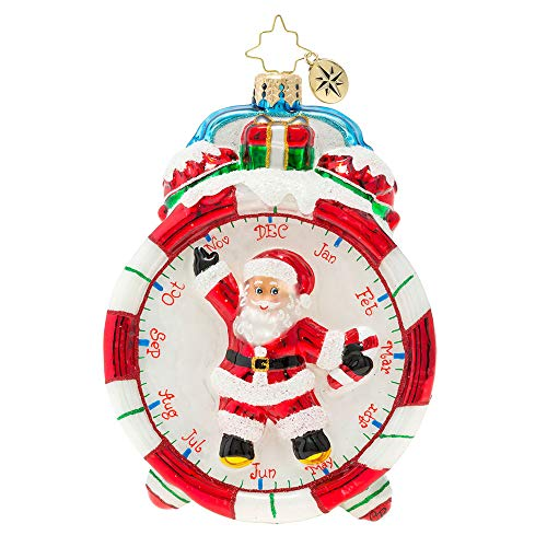 Christopher Radko Time Christmas Ornament, red, Blue, White