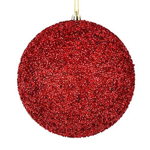 Vickerman 532652-8″ Red Beaded Ball Christmas Tree Ornament (2 pack) (N185903D)