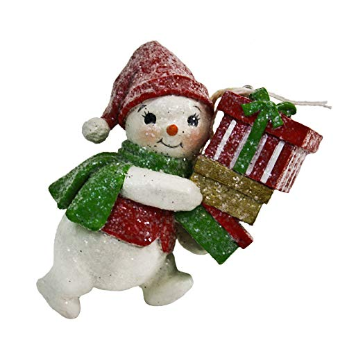 Bethany Lowe Designs Glitter Snowman Tree Ornament Holiday Decor