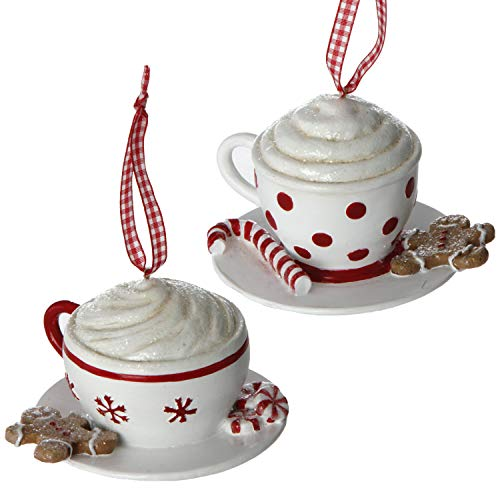 RAZ Imports Hot Chocolate Mug with Goodies 4.5 Inch Resin Christmas Ornament Assorted Set of 2