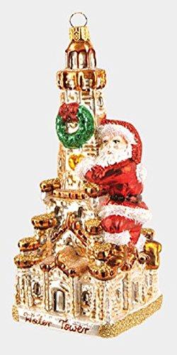 Pinnacle Peak Trading Company Santa on Chicago Water Tower Polish Glass Christmas Ornament Illinois Decoration