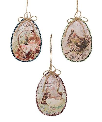 Bethany Lowe Vintage Style Glitter Image Easter Egg Ornament Set of 3