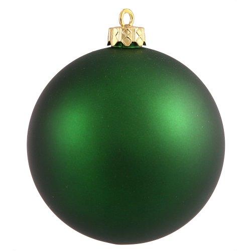Vickerman Matte Finish Seamless Shatterproof Christmas Ball Ornament, UV Resistant with Drilled Cap, 4 per Bag, 4.75″, Emerald