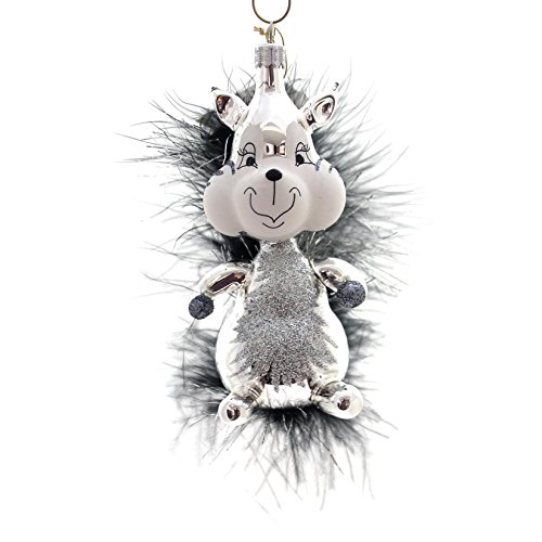 De Carlini SILVER SQUIRREL Glass Ornament Animal Italian A1904s