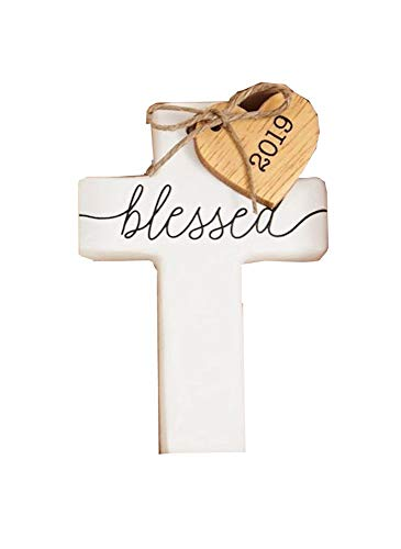 Mud Pie 2019 Cross Ceramic Ornament