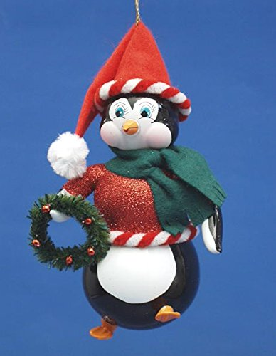 De Carlini Penguin with Wreath Italian Mouthblown Glass Christmas Ornament