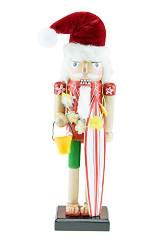 Clever Creations Surfer Santa Wooden Nutcracker – Holding Surfboard and Sand Bucket – Traditional Festive Christmas Decor – 10 inches Tall – Perfect Holiday Decoration for Shelves and Tables
