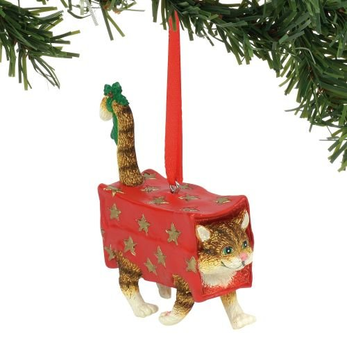 Department 56 Gary Patterson Walking Present Cat Christmas Hanging Ornament, 3.375″, Multicolor