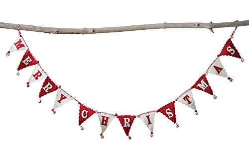 Creative Co-Op Cream & Red Banner Style Wool Felt Merry Christmas Poms Garland, Red