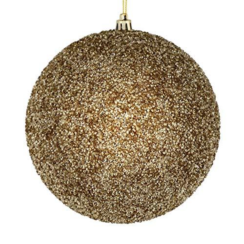 Vickerman 532867-8″ Champagne Beaded Ball Christmas Tree Ornament (2 pack) (N185938D)
