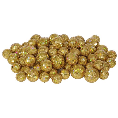 60ct Gold Sequin and Glitter Christmas Ball Decorations 0.8″ – 1.25″
