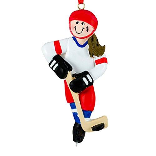 Personalized Ice Hockey Girl Christmas Tree Ornament 2019 – Brunette Athlete Red Jersey Helmet Stick Skate Hobby School Profession Winter Sport Brown Hair Year – Free Customization (Female)