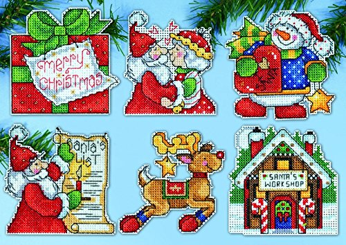 Design Works Plastic Canvas Stitch Kit Santas Workshop Ornaments