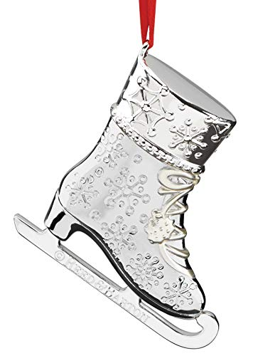 Reed & Barton 878118 Silver Plate Snow Days Ice Skate Ornament, Silver
