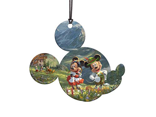Trend Setters Disney – Mickey and Minnie in The Alps – Thomas Kinkade – Mickey Shaped Hanging Acrylic Print