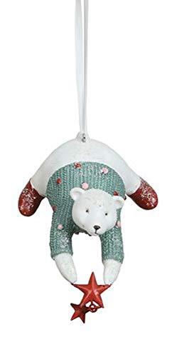 Creative Co-op Polar Bear Wish Upon a Star Holiday Ornament