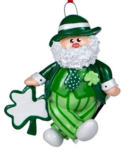 Rudolph and Me Irish Santa in Green Suit with Four Leaf Clover Christmas Ornament Decoration