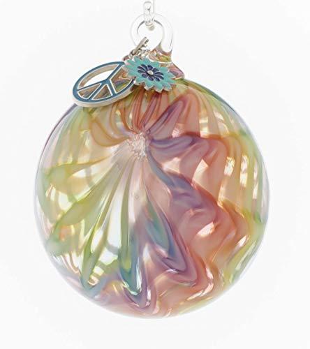 Glass Eye Studio Artisan Round Summer of Love Ornament with Charm Hippie Spirit