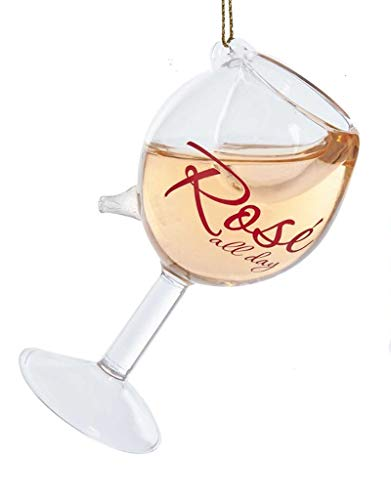 Kurt Adler Rose All Day Wine Glass Ornament – 4.6 inch