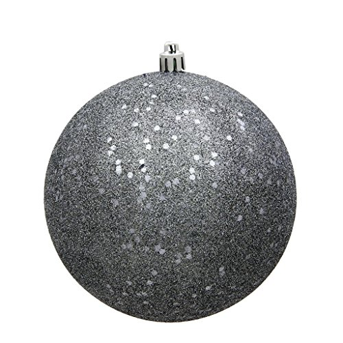 Vickerman 485996-6 Pewter Sequin Ball Christmas Christmas Tree Ornament (4 pack) (N591587DQ)