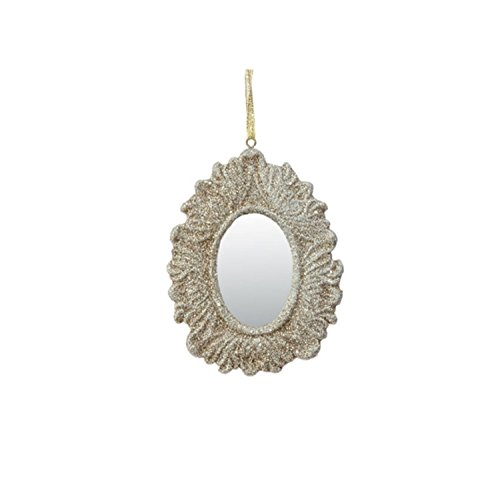 4″ Rich Elegance Champagne Gold Glittered Ornate Oval Mirror Christmas Ornament