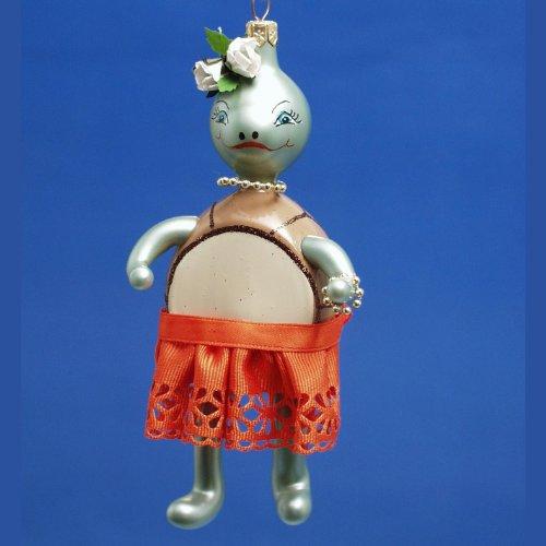 De Carlini Mrs Turtle Italian Glass Christmas Ornament