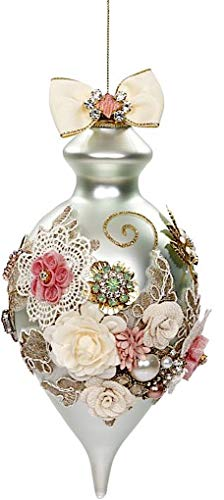Mark Roberts Kings Jewels Ornaments Vintage Floral Jewel Blue Finial Ornament 8 Inch, 1 Each