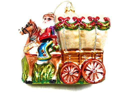 One Hundred 80 Degrees Cowboy Santa with Covered Wagon