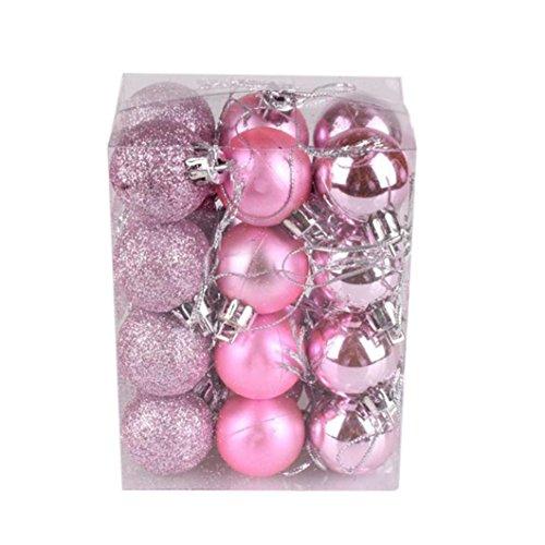 G-real Christmas Ornament Balls, 24Pcs(30mm) Xmas Tree Decoration Balls (Pink)