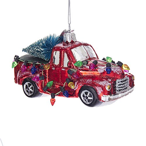 Kurt Adler Kurt S. Adler 5-Inch Noble Gems Glass Truck with Trees Ornament
