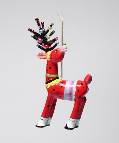 Appletree Design Deer in Red Ornament, 6-1/8-Inch Tall, Includes String for Hanging