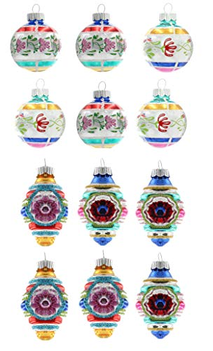 Christopher Radko Vintage Confetti Glass Ornaments 1.75″ 12c Decorated Rounds and Shapes