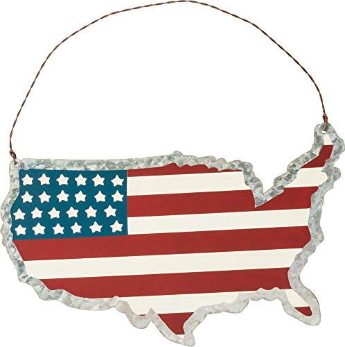 Primitives by Kathy PBK Patriotic Decor – USA Map American Flag Sign Ornament