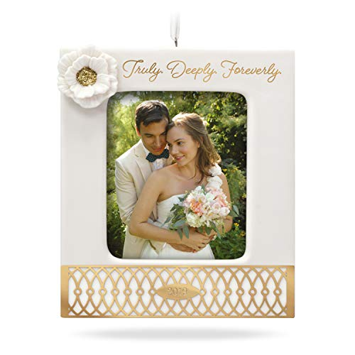 Hallmark Keepsake Christmas 2019, Wedding, Year Dated Truly. Deeply. Forever. Porcelain and Metal Photo Frame Ornament