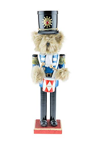Clever Creations Teddy Bear Drummer Nutcracker | Features Fuzzy Teddy Bear Dressed Up Playing Drums | Perfect Holiday Decor | Measures 15″ Tall Tables and Shelves