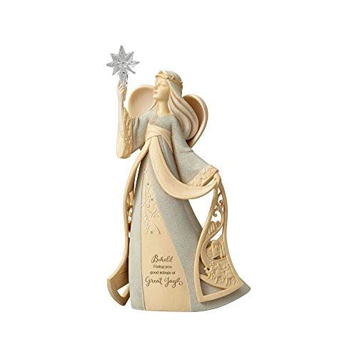 Enesco Foundations Christmas Nativity Angel with Star Stone Resin Figurine, 9.7″, Multicolor
