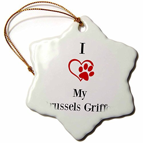 Christmas Ornament BrooklynMeme Pet Sayings – I love my Brussels Griffon – Snowflake Porcelain Ornament